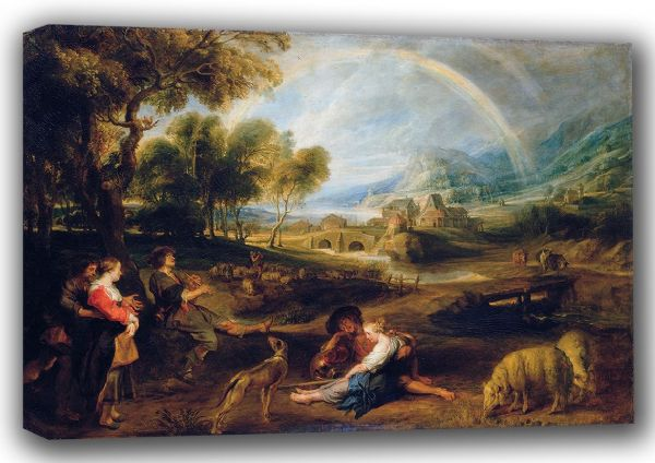 Rubens, Peter Paul: Landscape with a Rainbow. Fine Art Canvas. Sizes: A4/A3/A2/A1 (001217)